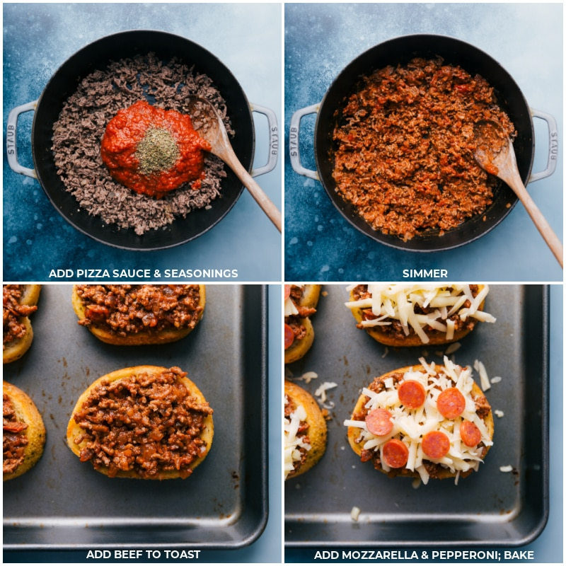 Process shots of Texas toast pizza-- add pizza sauce and seasonings; simmer; add to the toast; top with mozzarella and pepperoni; bake.