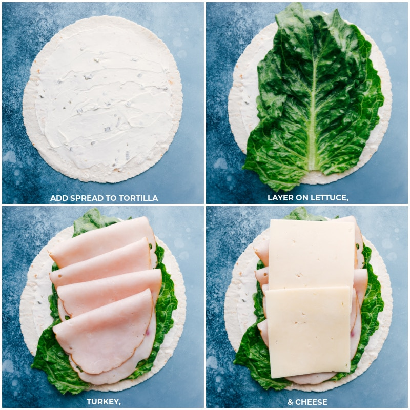 Process shots: spread cream cheese on the tortilla; layer on lettuce followed by turkey and cheese.