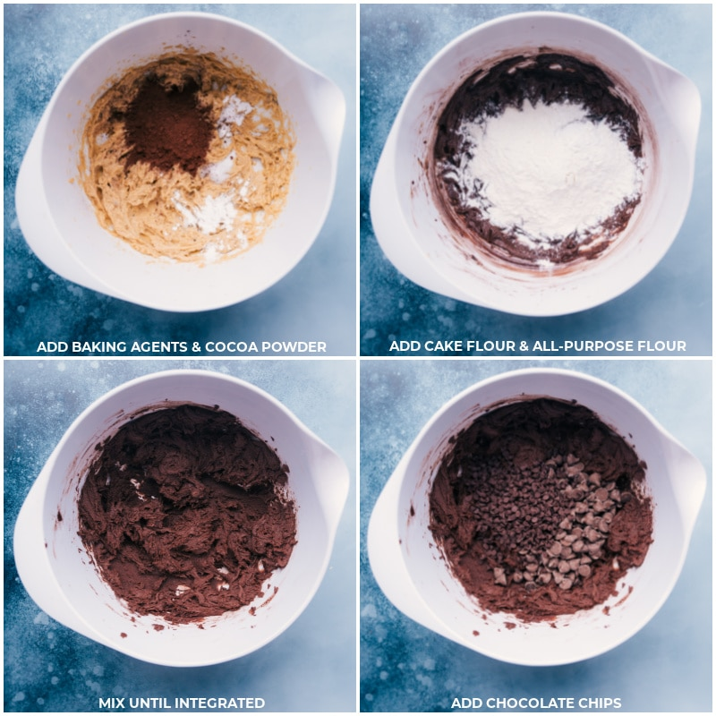 Process shots-- images of cocoa powder, baking agents, flour, and chocolate chips being added to a bowl and mixed together