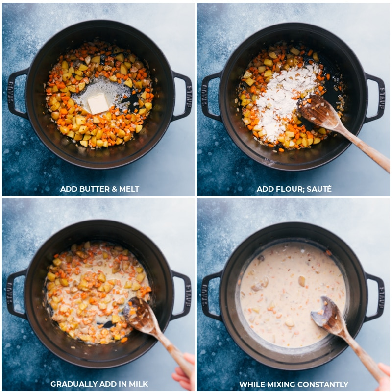 Process shots-- images of the butter, flour, and milk being added for this Corn Chowder Pot Pie