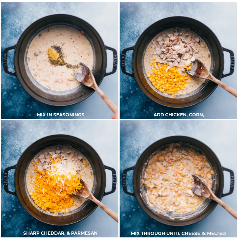 Process shots-- images of the seasonings, chicken, corn, and cheese being added to the filling