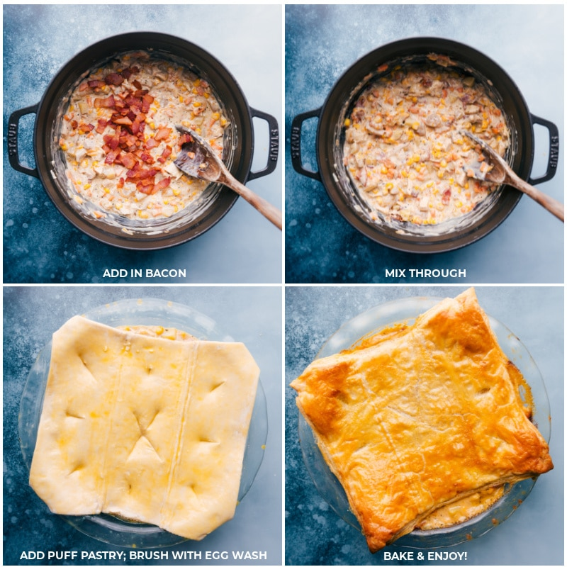 Process shots-- images of the bacon being added and then the puff pastry layer being added and baked