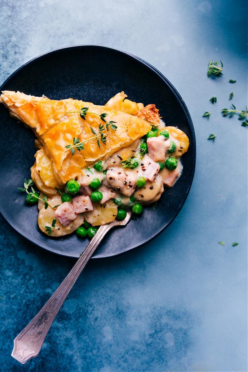 Overhead image of a plateful of Ham and Potato Pot Pie