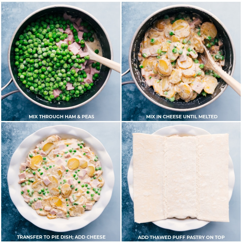 Process shots--Adding the ham and peas to the potato cream mixture and then transferring it all to a pie dish, and finally placing the thawed puff pastry on top