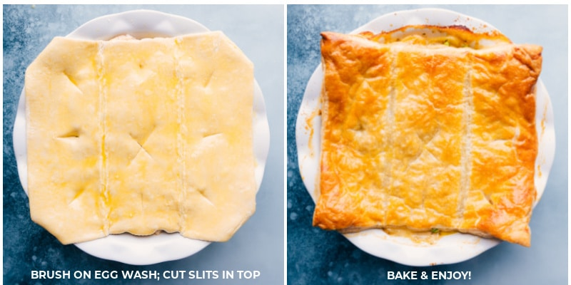 Process shots-- Ham and Potato Pot Pie before and after being baked