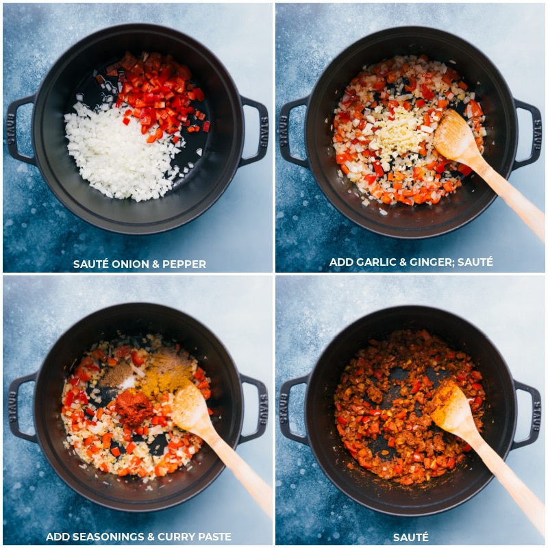 Process shots-- images of the veggies being sautéed, and the garlic, ginger, seasonings, and curry paste being added