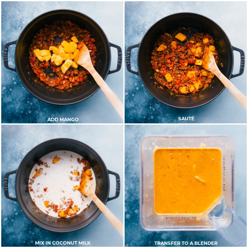 Process shots of the Mango Chicken curry-- the mango being added and sautéed, and then the coconut milk being added; transferring to a blender