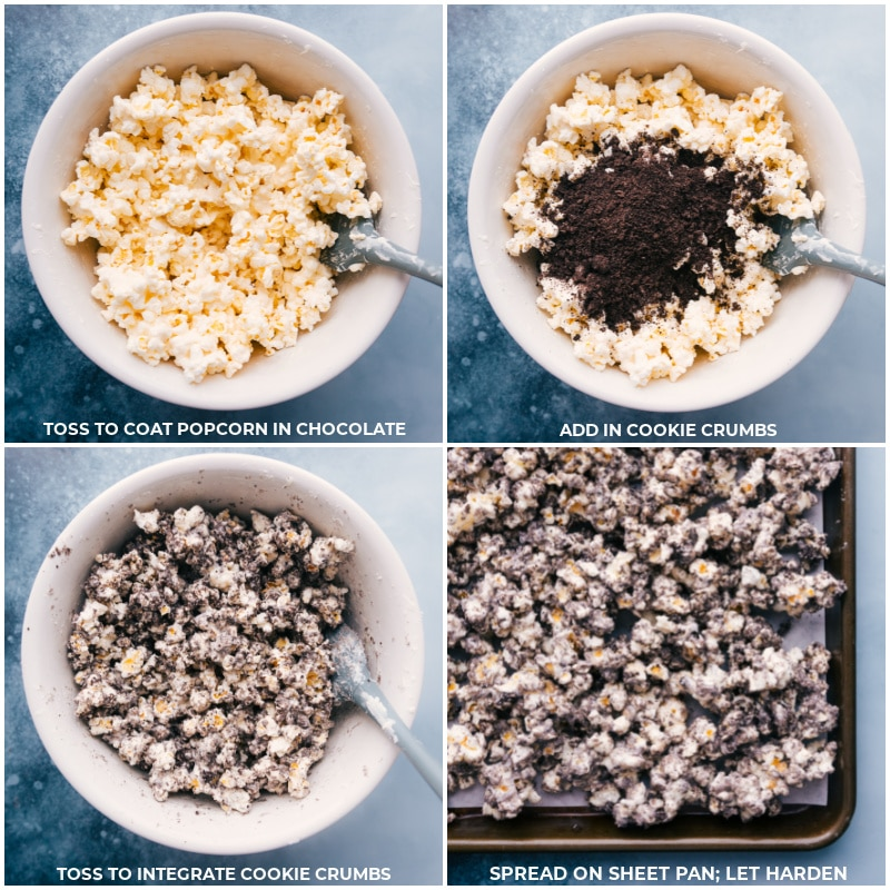 Process shots: toss the popcorn and chocolate mixture; add in cookie crumbs; toss to mix well; spread on a sheet pan; let harden.