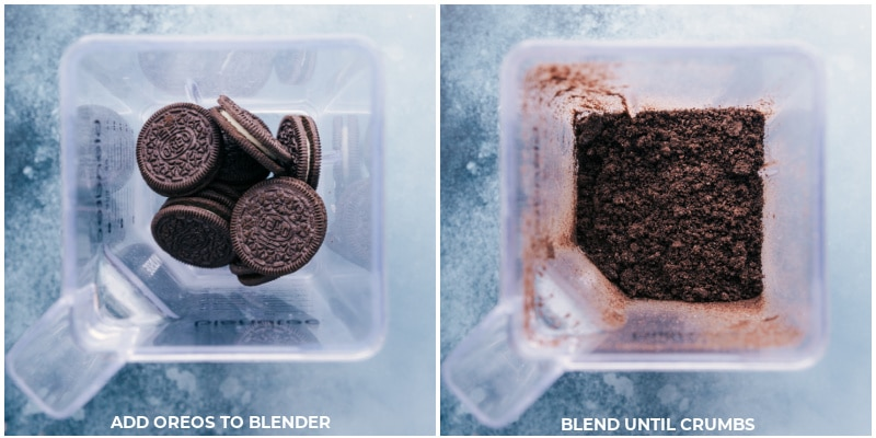 Process shot-- images of the Oreos being blended in a blender