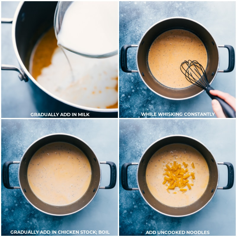 Process shots-- images of the milk being added and whisked together then the chicken stock being added and boiled and the noodles being added and cooked