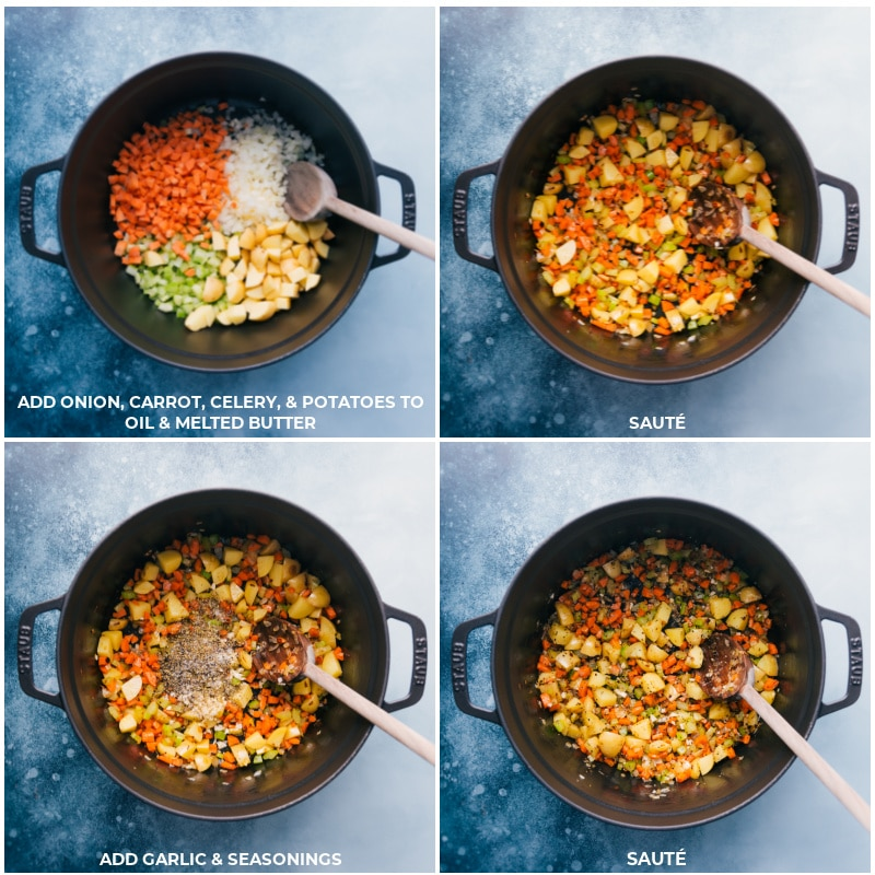 Process shots-- images of the vegetables being sauteed and the garlic and seasonings being added and sautéed