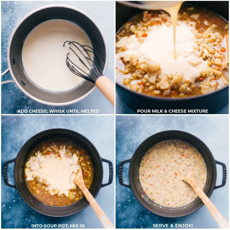 Process shots-- images of the cream mixture being added to the soup and everything being mixed together and served