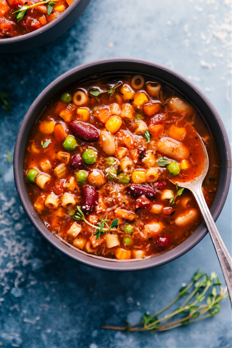 Overhead image of Minestrone Soup in a bowl