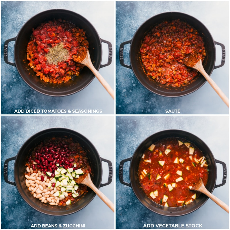 Process shots of Minestrone Soup-- images of the diced tomatoes, seasonings, beans, zucchini, and vegetable stock