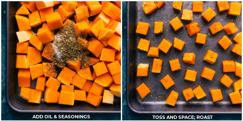 Process shots of roasted butternut squash-- images of the seasonings being added and tossed together