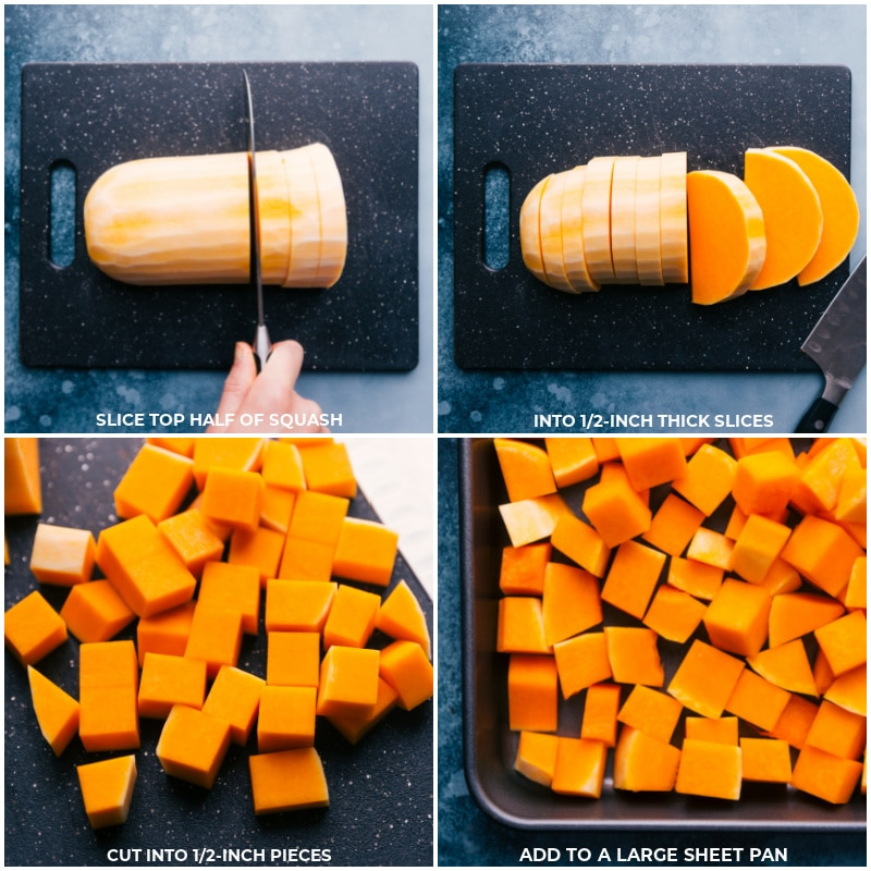 Process shots-- images of the veggies being chopped into small pieces and being placed on a prepared sheet pan