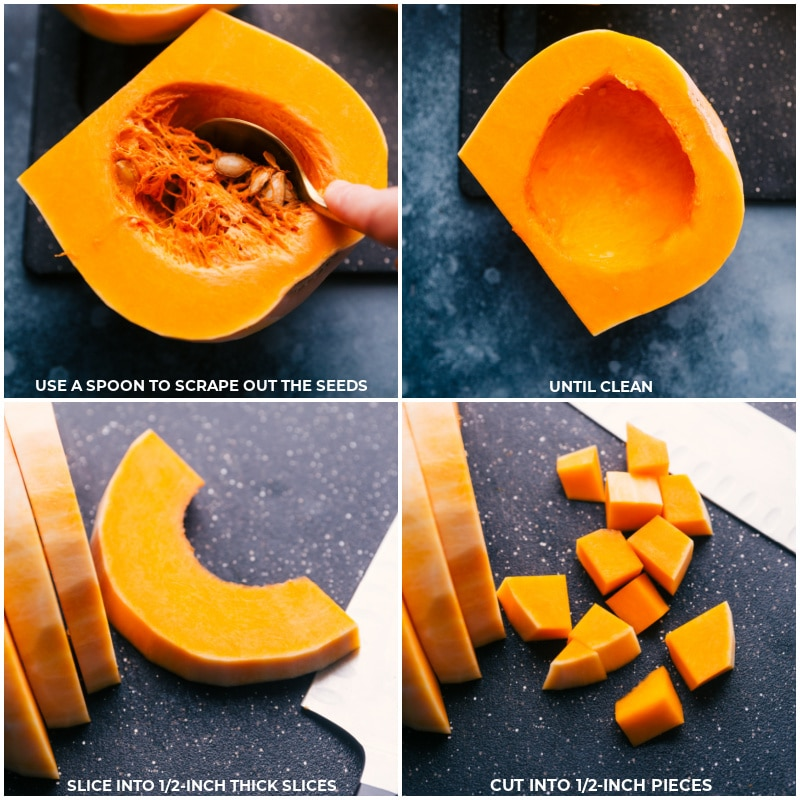 Process shots-- images of the seeds being scraped out of the squash and being chopped up