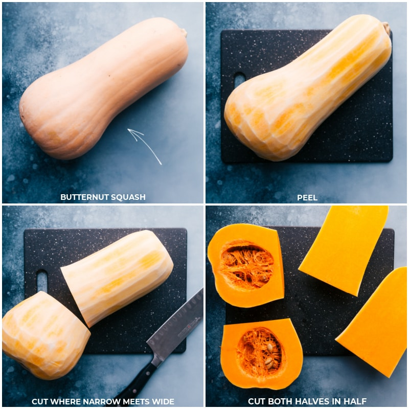 Process shots-- images of the butternut squash being peeled and cut