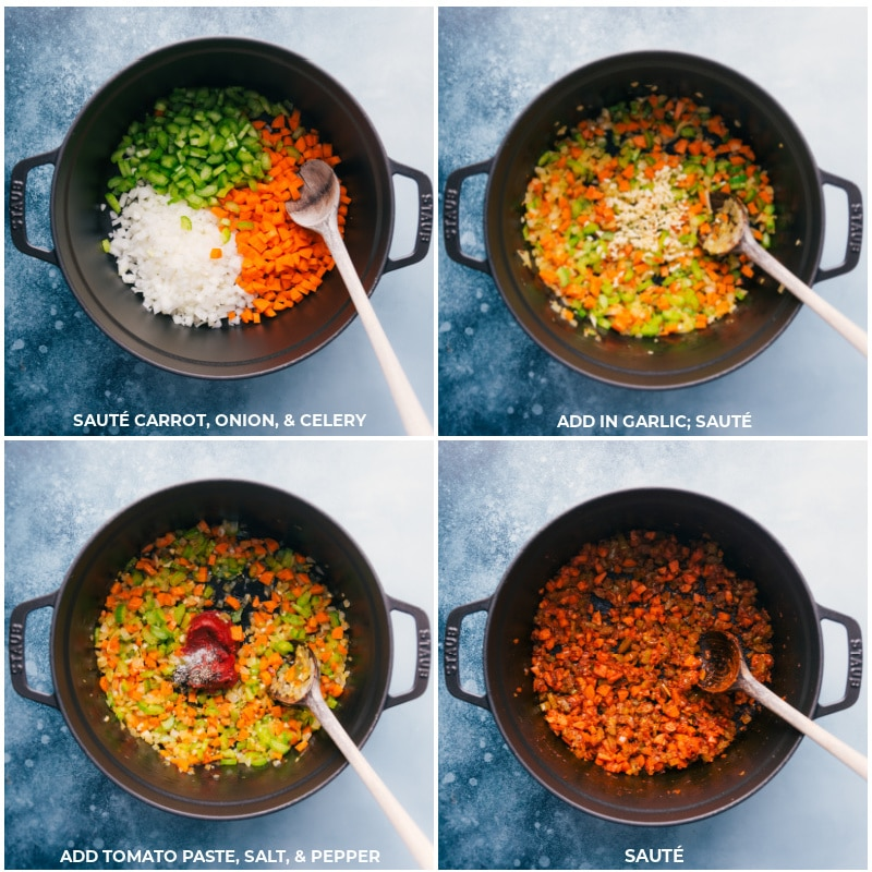 Process shots-- images of the carrots, onion, and celery being sautéed, garlic and tomato paste being added and that being sautéed