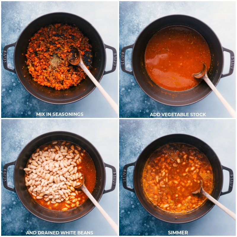 Process shots-- images of the seasonings, vegetable stock, and drained white beans being added