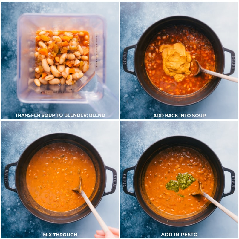 Process shots-- images of part of the soup being transferred to ta blender and being blended and then added back to the pot along with fresh pesto for this white bean soup