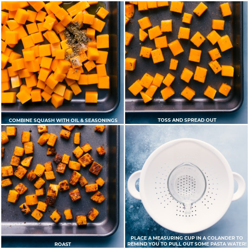 Process shots-- images of the butternut squash being roasted and the pasta being drained reserving some of the pasta water