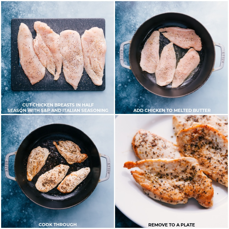 Process shots-- images of the chicken being prepped and then cooked through in a pot