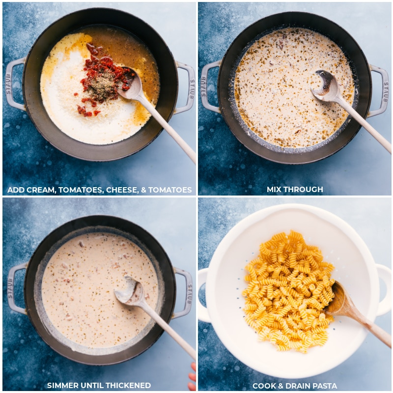 Process shots-- images of the cream, tomatoes, and cheese being added to the pot and the past being cooked and drained