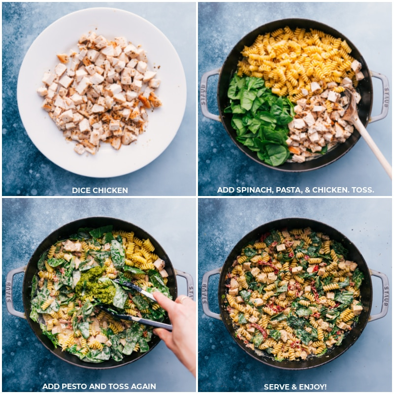 Process shots-- images of the chicken being diced, spinach, pasta, chicken, and pesto being added